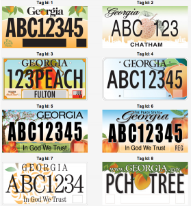 Georgia new plate choices